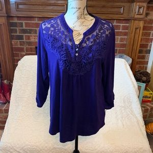 Style&Co Embroidered Lace Front and Back Top